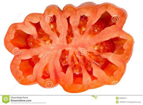 tomato cross section tomato cross section isolated on white background stock