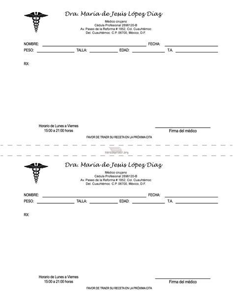 imagenes de recetas medicas para imprimir formato de receta medica para imprimir