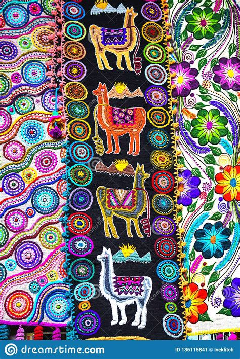 peruvian traditional colourful native handicraft textile fabric  llama pattern  market