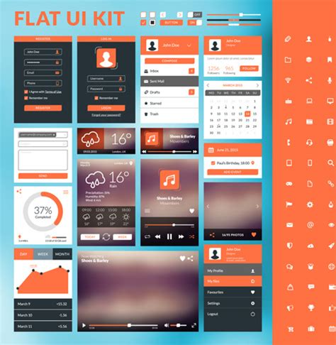 flat mobile mobile flat ui kit vector design free vector in