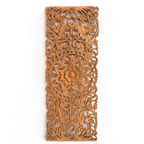 buy hand carved lotus wall art panel