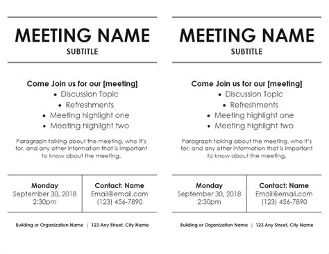 Meeting Flyer Templates For Word Meeting Poster Template