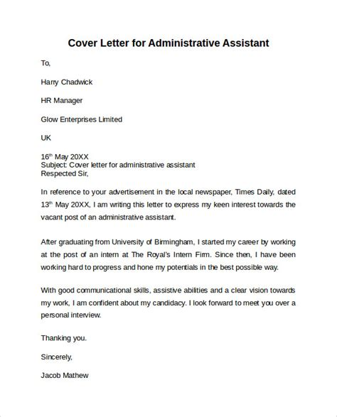 cover letter of administrative assistant