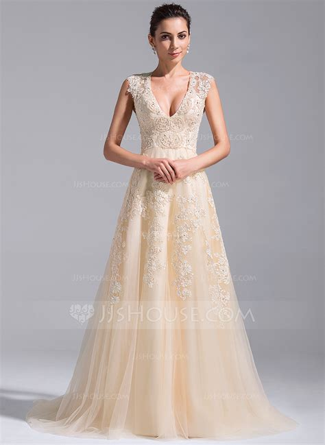 Court Wedding Dress by A Line Princess V Neck Court Tulle Wedding Dress