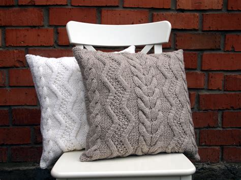Beige Gray Or White Cable Knit Pillow Cover 18х18 Inches
