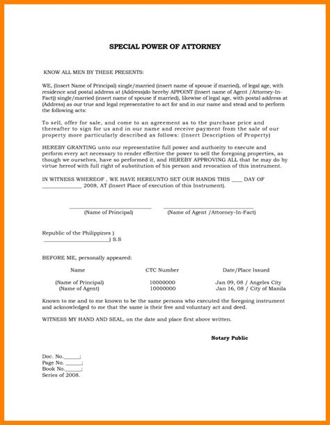 special power of attorney template free form special power of attorney form