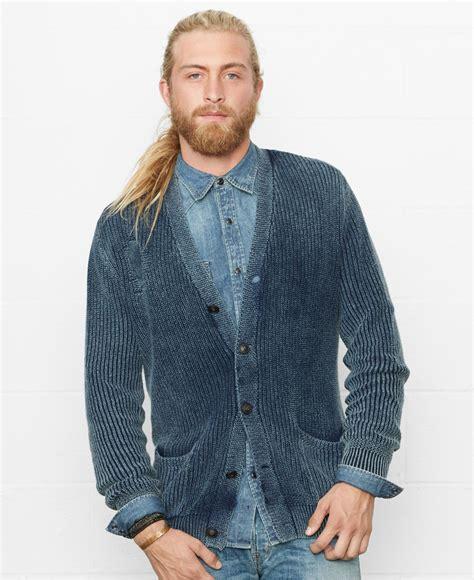 Pasmina Denim Motif 1 denim supply ralph indigo shawl collar cardigan in blue for lyst