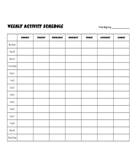 weekly activity planner template activity schedule related keywords activity schedule