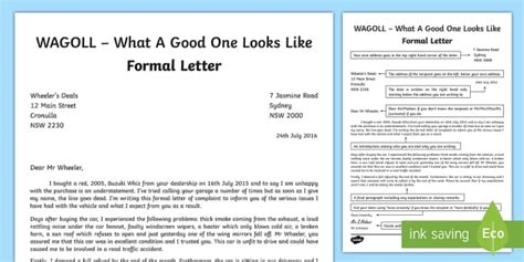 Wagoll Formal Letter Writing Sle English Text Types Letter Template Ks2 2
