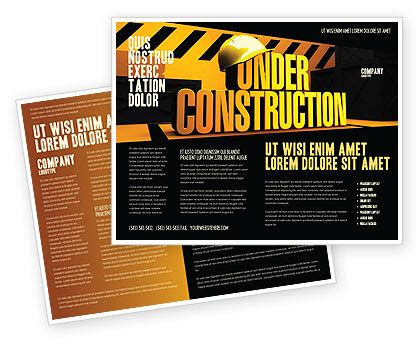 closed under construction brochure template design and