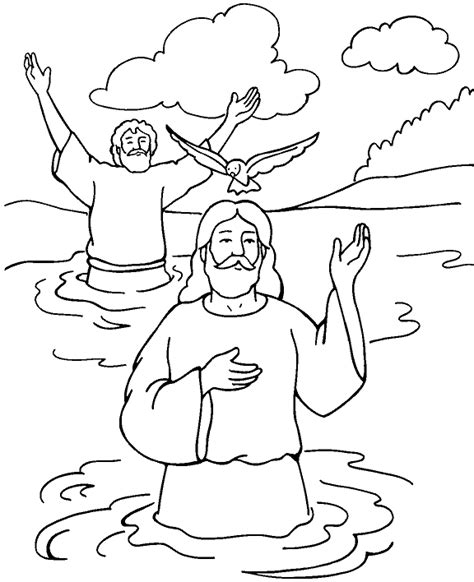 john the baptist baptism jesus coloring pages baptism of jesus color page