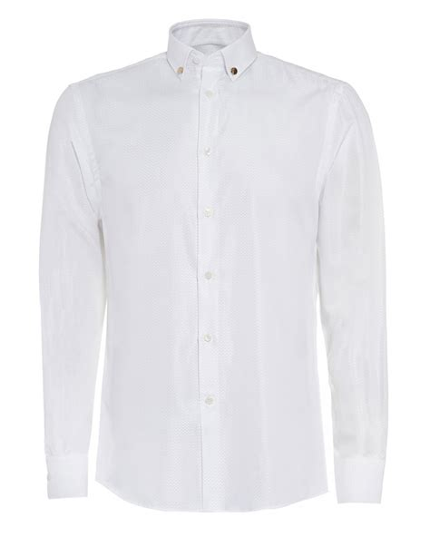 Textured Sleeve Shirt s versace collection white textured sleeve shirt
