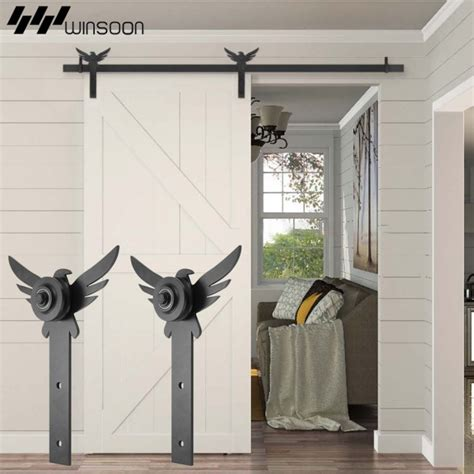 Decorative Barn Door Track Winsoon 5 18ft New Decorative Sliding Barn Door Hardware Track Kit Eagle Design
