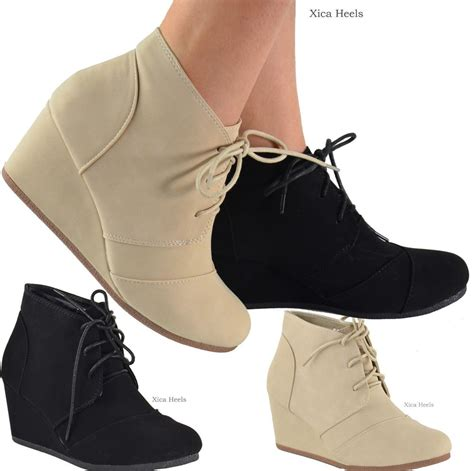 s ankle boots wedge heel lace up booties black or