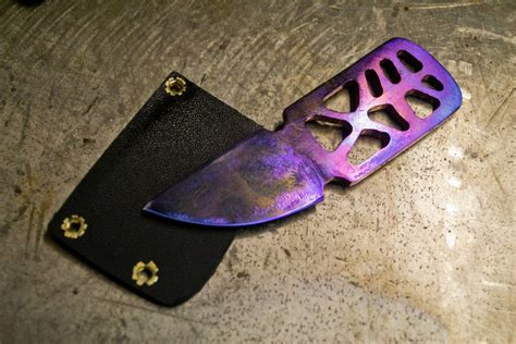 Kecubung Amethyst Titanium Size 8 purple titanium neck knife with vine pattern by nickwoo2 on deviantart