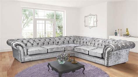 crushed velvet chesterfield sofa silver crushed velvet 3c2 chesterfield nelson corner sofa