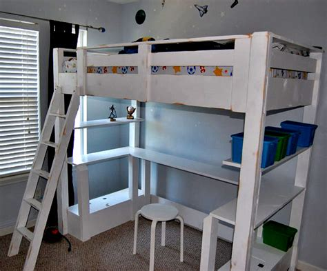 Ana White Loft Bed Small Bookcase And Desk Diy Projects White Loft Bed Desk