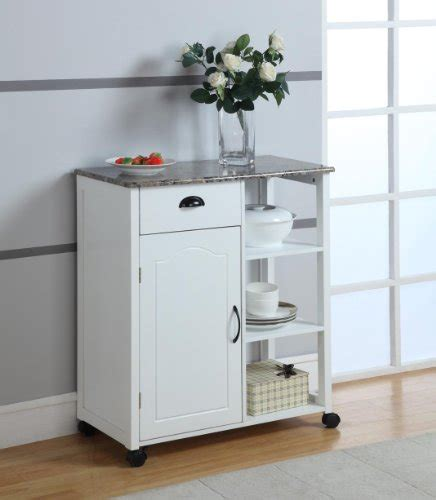 kitchen storage carts cabinets brand white finish wood marble vinyl top kitchen