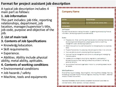 project manager assistant job description sample software