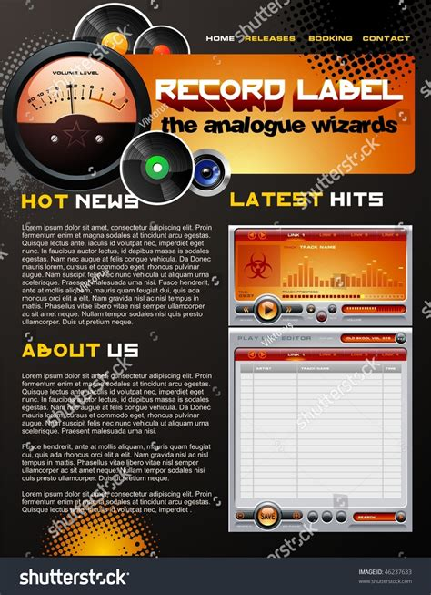 Record Label Web Design Template Stock Vector Illustration 46237633 Shutterstock Record Label Website Template