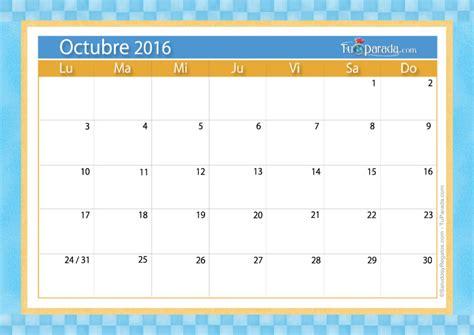 Calendario 2016 Octubre Calendario Octubre 2016 Calendarios Mensuales Tarjetas