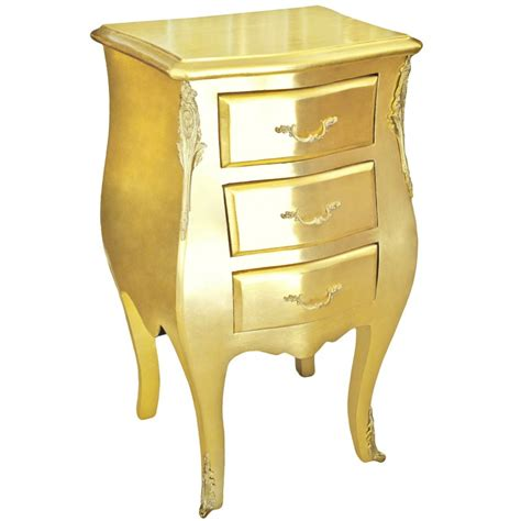 Thin Nightstand With Drawers Thin Bedside Stand Baroque Commode Wooden Gold With 3 Drawers