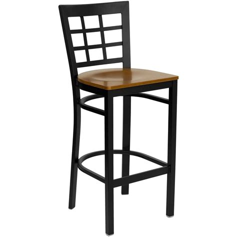 restaurant metal bar stools flash furniture xu dg6r7bwin bar chyw gg black window back metal bar stool with cherry wood seat
