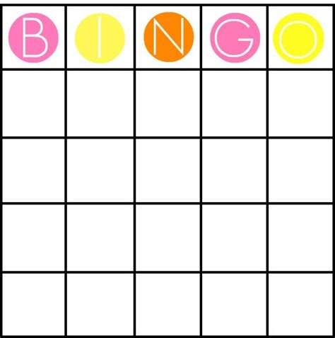 blank bingo card template for work pinterest