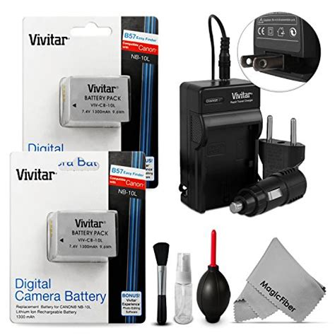 canon powershot sx50 hs battery charger batteries 2 pack nb 10l battery and charger kit for