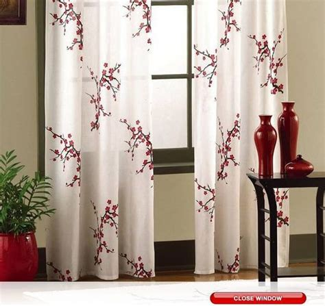 cherry blossom drapes asian cherry blossom red floral window curtain panel pair
