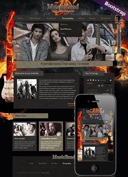 Music Band Website Template Rock Band Bootstrap Website Design Responsive Web Design Rock Band Web Template