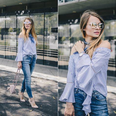 Zara Jumbo Blouse By Hana julie p sheinside shoulder blouse zara zerouv sunglasses the shoulder and