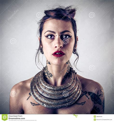 beautiful girls with tattoos alternative with tattoos royalty free stock images