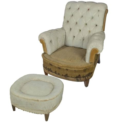 Tufted Armchair Sale Large Tufted Armchair And Ottoman For Sale At 1stdibs