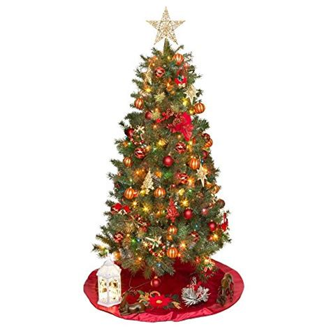 6ft multi color pre lit valley pine christmas tree