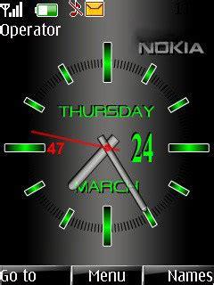 green nokia clock  theme  nokia themes