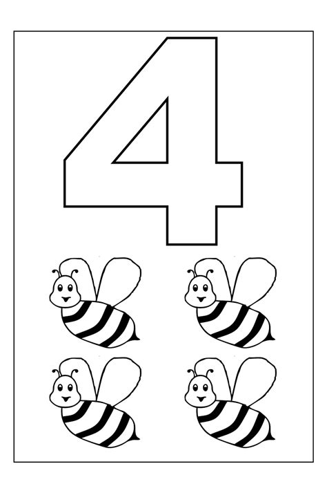 Number 4 Coloring Pages Preschool 4 year worksheets printable activity shelter
