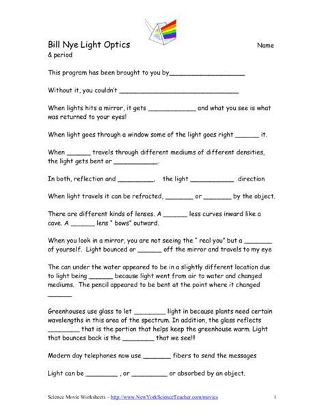 Bill Nye Worksheets by Worksheet Bill Nye The Science Worksheets Caytailoc