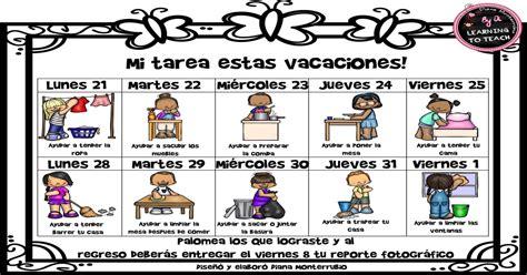 imagenes vacaciones maestra colaboramos en casa en vacaciones cuadro de tareas