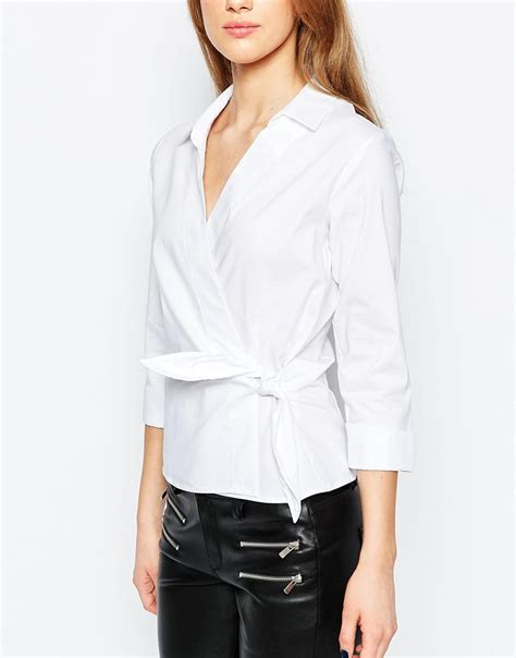 White Wrap Blouse With Tie by Warehouse Wrap Tie Side Shirt In Brown Lyst