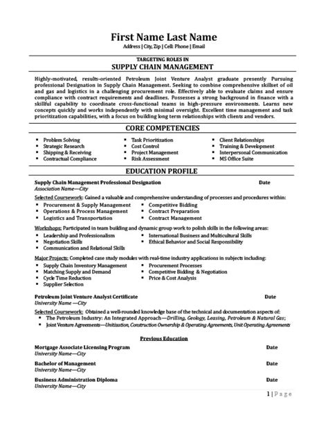 supply chain management professional resume template
