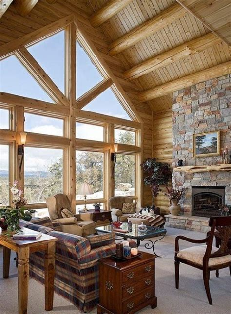 log cabin living room interior designs i love pinterest inrichting blokhut i love my interior
