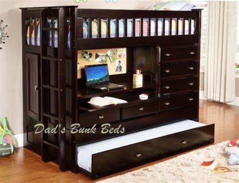 Loft Bed With Closet And Desk by Wood Loft Bed W 4 Drawer Chest Storage Closet Desk