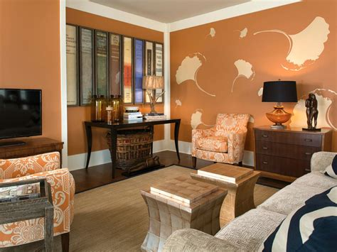 burnt orange and brown living room orange living room photos hgtv