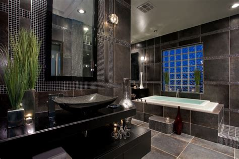 contemporary black and gray master bathroom contemporary