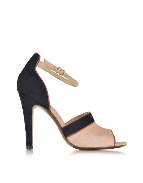 navy blue suede high heels l autre chose pink navy blue and suede high