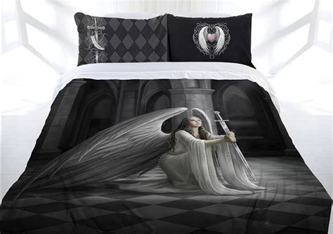 anne stokes  blessing doona cover bed set double queen king gothic angel sword lees dragon