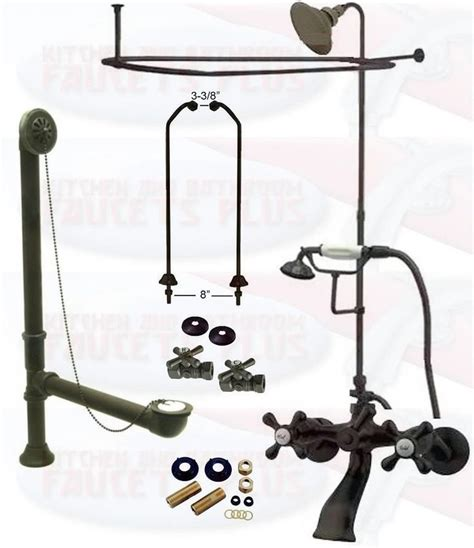 rubbed bronze clawfoot tub faucet kit w shower riser
