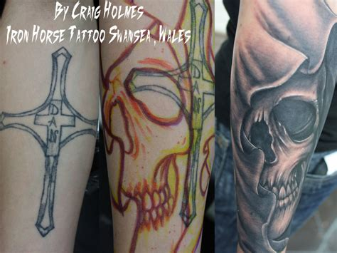 cover up cross tattoos cross skull cover up by craig by craigholmestattoo