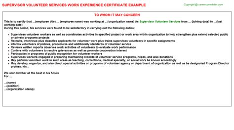 certification letter volunteer supervisor volunteer services work experience certificate